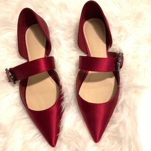 Zara Ballerinas with gem buckle red burgundy shoes